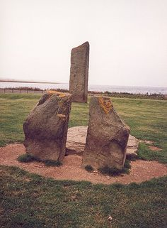 Standing Stones of Stenness---these standing stones are literally in a farmer's pasture!  Nothing around them but sheep and green grass!