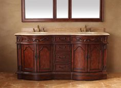 """Tuscany 72"""" Double Sink Bathroom Vanity Cabinet - Cherry Finish - The Tuscany collection is versatile for any style of home. With upscale wood working and impressive handcrafted detail, this collection provides a timeless class and sophistication to any bathroom space. Enjoy a spa-like retreat with the calming cherry finish and scroll working. A matching mirror is also available with this collection for a complete look."""