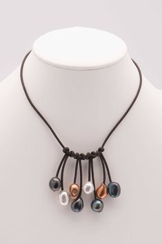 Leather and Pearl Bib Choker, Fringe Bib Style, Dangling Pearls Leather Necklace, Leather and Pearl Jewelry - Kristy Wilson Leather Pearl Necklace, Tahitian Pearl Necklace, Freshwater Pearl Necklaces, Pearl Bracelet, Leather Jewelry, Pearl Jewelry, Bangle Bracelets, Jewelry Shop, Jewelry Making