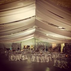 The Ag Pavilion looked great with this draping covering the ceiling and chair covers from Platinum Event Rentals in Kearney.