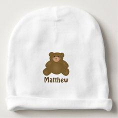 #Cute Cuddly Brown Baby Teddy Bear And Polka Dots Baby Beanie - #cute #baby #beanies #lovely #babies
