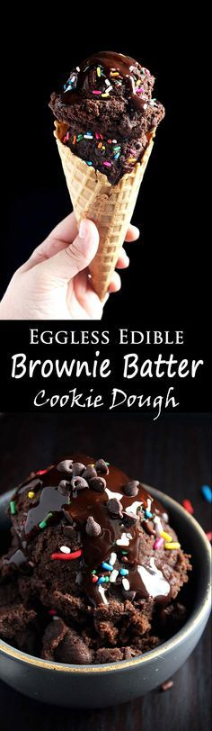 This eggless treat is a double chocolate attack with chocolate chips, sprinkles, hot fudge, and any topping you want! (desserts with cookie dough ovens) Edible Cookies, Edible Cookie Dough, Cookie Dough Recipes, Baking Recipes, Brownie Cookie Dough, Chocolate Cookie Dough, Edible Brownie Batter Recipe, Cake Batter Fudge, Healthy Cookie Dough