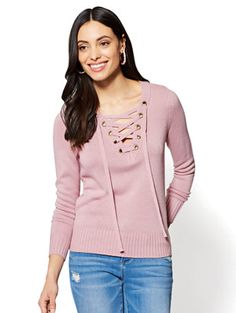 Shop Lace-Up Sweater. Find your perfect size online at the best price at New York & Company.