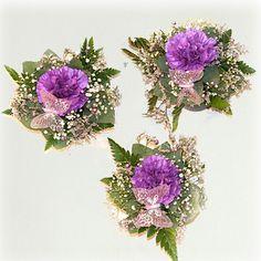Tre små dekorasjoner  i lilla