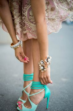 Turquoise heels, prefect accent to all black or white outfit Mint High Heels, Ankle Strap High Heels, Strappy Heels, Shoes Heels, Prom Shoes, Sandal Heels, Heeled Sandals, Louboutin Shoes, Ankle Straps