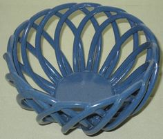 COLLECTIBLE OPEN BASKETWARE POTTERY BOWL TWISTED RODS