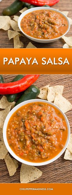 A recipe for sweet and spicy salsa made with fresh papaya, jalapeno, cayenne peppers and more. Papaya Recipes Healthy, Guacamole, Jalapeno Recipes, Cayenne Pepper Recipes, Chili Recipes, Cooking Recipes, Healthy Recipes, Sauces, Pico De Gallo