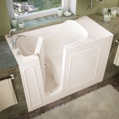 MediTub 26x53-inch Left Drain Biscuit Air Jetted Walk-In Bathtub (26x53 inch, Air Tub, Biscuit, Left)