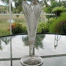 Trumpet Vase 9.75 in. Teasel Pattern 1880s Pressed Glass