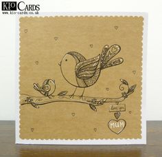 KIO CARDS - HAND DRAWN BIRDS MOTHER'S DAY CARD #craft #handmade #bird #woodland…