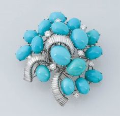 Turquoise & Diamond Brooch.