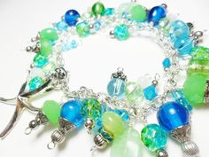 Blue and green cha cha bracelet with starfish charm, bead dangle bracelet, beachy jewelry on Etsy, $35.00