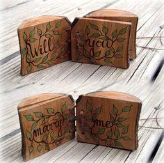 Proposal Natural Rustic Original Wooden Log Book Ring Box.