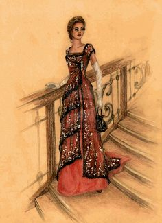 This is a drawing of Rose's DInner dress from Titanic, by FashionARTventures. I love 1910-1920's dresses. Too bad they come with having to wear a corset.