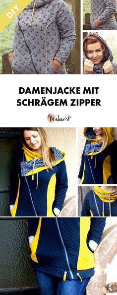 Damenjacke mit schrägem Zipper - Nähanleitung und Schnittmuster via Makerist.de