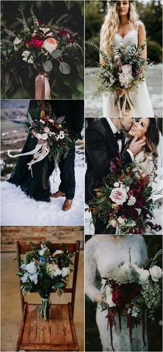 moody wedding bouquets for fall #weddingideas #weddingflowers #weddingbouquet