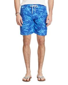 POLO RALPH LAUREN Traveler Shark Swim Trunks. #poloralphlauren #cloth #trunks