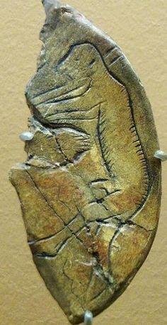 Del Paleolítico, grabado en hueso, Dordoña, francia.