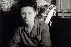 Simone de Beauvoir. Café de Flore, Paris, 1944. Photo: Gilberte Brassaï. [The full picture is here, but I liked the close.]