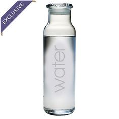 Glass water bottle with a sand-etched typographic design. Made in the USA.  Product: Water bottleConstruction Materi...