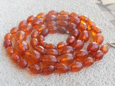 "Faceted Amber Bead Necklace, Art Deco, 32"" Opera Length, Hand Knotted, 40 grams"