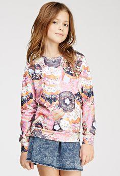 Donut Print Raglan Sweatshirt (Kids) - New Arrivals - Sweatshirts & Knits - 2000133541 - Forever 21 UK