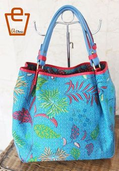Batik bag with blue leather