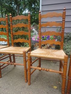 Antique Ladder Back Chairs With Rush Seats Kd Smart Chair Owner S Manual Furniture Made In Usa Ladderback Of Ash Oak Dining 2 Arm Country Ships 185 Ebay