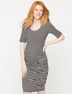 ad666dd29455c A Pea in the Pod Elbow Sleeve Ruched Maternity Dress Striped Maternity  Dresses, Bump Style