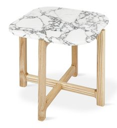 Quarry End Table in Bianca Marble design by Gus Modern End Table Sets, End Tables With Storage, Side Tables, Marble End Tables, Joinery Details, Wood Crosses, Modern Rustic Interiors, Marble Top, New Furniture