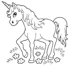Coloring page: Unicorn in the meadow for coloring - Applikationen und Ausmalbilder - Pferde Unicorn Coloring Pages, Cute Coloring Pages, Printable Coloring Pages, Free Coloring, Adult Coloring Pages, Coloring Pages For Kids, Coloring Books, Unicorn Outline, Unicorn Drawing