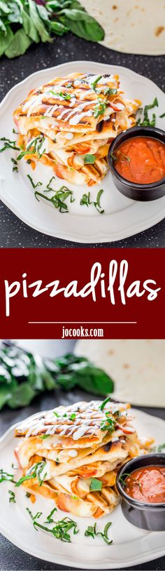 Pizzadillas! What happened when pizza and quesadilla met and fell in love? Pizzadillas were born! Lots of pizza goodness stuffed into a quesadilla!