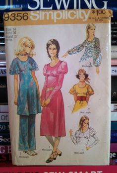 UNCUT 1971 Simplicity Pattern 9356-Size 14-Bust 36-Waist 27-Misses' Midi or Mini Length Boho Dress-Tunic w Sleeve Variations and PANTS by PaperDiversities on Etsy