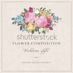 Фотообои Векторные винтажные свадебные открытки в викторианском стиле. Композиция ярких цветов на сером фоне. Розы, тюльпаны, дельфиниум. Элемент дизайна