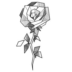 Clothiesly – Everything Be Alright Pencil Art Drawings, Art Drawings Sketches, Easy Drawings, Tattoo Drawings, Geometric Rose Tattoo, Geometric Drawing, Geometric Art, Art Sketchbook, Mandala Art