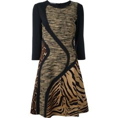 Alberta Ferretti animal print dress (2,410 BAM) ❤ liked on Polyvore featuring dresses, black, mixed print dress, animal print dresses, alberta ferretti, pattern dress and alberta ferretti dresses