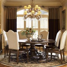 Seville Marquetry Expandable Round Pedestal Dining Table   Zin Home