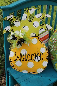 Polka Dot Pineapple Door Hanger by abossard on Etsy