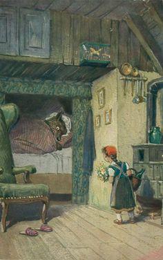 Rotkäppchen, gemalt von Paul Hey, Thienemanns Grimm-Märchenbuch