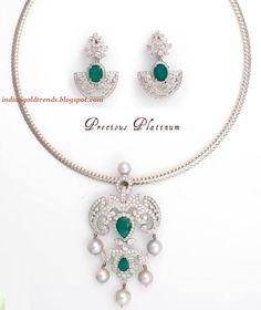 Latest Indian Gold and Diamond Jewellery Designs: Platinum Diamond Pendant Set by NAC Jewellers