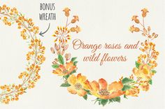 Watercolor wreath: orange mixed by Lolly's Lane Shoppe on Creative Market