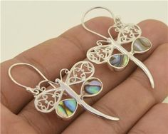 Jewelry With Soul Dragonfly Paua Abalone 925 Sterling Silver Earrings
