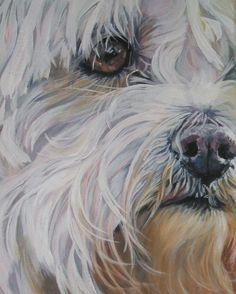 Maltese hond CANVAS GICLEE print van een schilderij van L.A.Shepard 8 x10 inch  OVER DE PRINT:  Dit beeld open editie maatregelen 8 x 10 inch en