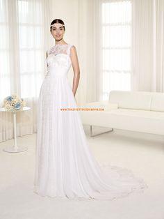 Vestidos de novia de encaje de gasa y encaje cola capillia