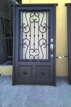 wrought iron security window grill on gold coast Grill Gate Design, Door Gate Design, Front Door Design, Steel Gate, Steel Doors, Wood Doors, Porta Colonial, Wrought Iron Doors, Entrance Doors