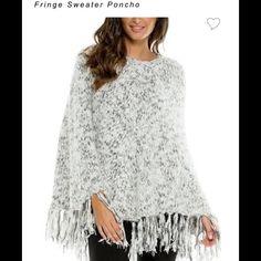 Elan NWT Grey & Wht knit sweater poncho-open front Fringe sweater poncho in mixed grey knit. Pair with your favorite legging! 70- polyester 30- acrylic one size Elan Sweaters Shrugs & Ponchos