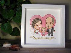 Custom Watercolor Portrait. Individual, couple, wedding, friends or family portrait. By Ameba Verde.