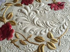 Quilted silk-embroidered linen at Kelly cline Quilting