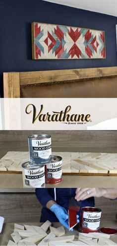 Whatever project you tackle next, remember that Varathane wood stain means achieving true color in one coat. Learn how DIY blogger Jaime Costiglio finished this DIY above the bed wall art with a bold stain that makes this rustic farmhouse decor pop! No matter what you're working on – wooden floors, cabinets, railings, trim, doors or furniture – know that there's a reason woodworkers and DIYers like Jaime have trusted Varathane since 1958. #varathaneit