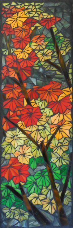 """'Vine Maple Study' (c) Joanne Daschel 2013 - 9"""" x 28"""" glass mosaic on cement board SOLD"""